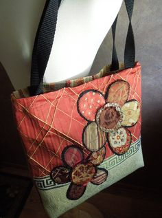 UPCYCLED TOTE BAG in Coral and Cream Applique ♥ by WhimsyEyeDesigns, $52.00