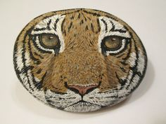 Tiger hand painted on a rock by Ann Kelly #Realism