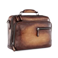 Both business and pleasure, travel time and desk time, this bag will hold your finest clothes and bulkiest files. The leather loop means you can even slip it onto the rolling suitcase. Business Fashion, Business Style, Leather Briefcase, Leather Bags, Luggage Bags, Travel Bags, Suitcase, Creations, Shoe Bag