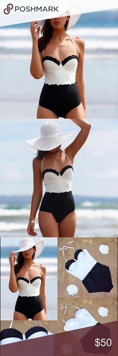 NIP Colorblock One Piece New in package black and white one piece swimsuit with detachable neck ties. Can be worn as bandeau top. Medium is a size 6-8 and large is a size 10-12. Blue Door Swim One Pieces