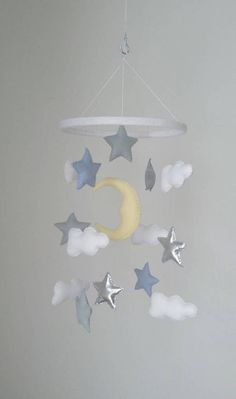 Moon Grey And Silver Stars Clouds Nursery Mobile Shower Gift Baby