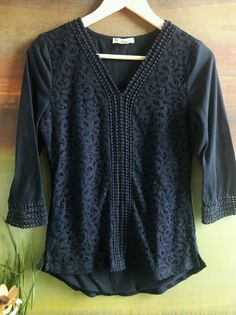 DRESSBARN LACE BOHO CHIC TASSEL TRIMS NAVY TOP BLOUSE 3/4 SLEEVE SHIRT S /  PM  #Dressbarn #Blouse #Casual