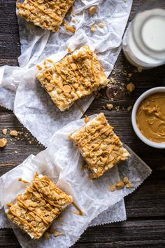 Oatmeal Crumble Peanut Butter Cheesecake Squares have lighter ingredients. Enjoy with less guilt.