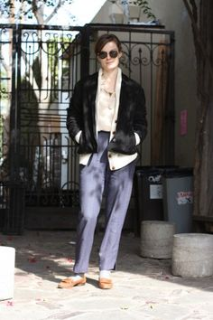 Name: Lindsay Burdge, 28   Job: Actress   Hood: NYC   Wearing: Tocca Top, Vintage Pants, Shoes, and Jacket