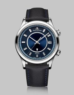 The Jaeger-LeCoultre Master Memovox Boutique Edition features a stainless steel case measuring 40 mm in diameter and 14 mm thick and a grayish blue, retro-look dial; it has two crowns and is powered by the in-house automatic Jaeger-LeCoultre Caliber 956. This watch is limited to 500 pieces.  More @ http://www.watchtime.com/wristwatch-industry-news/watches/jaeger-lecoultre-master-memovox-boutique-edition-celebrates-60-years-of-the-automatic-alarm/ #jaegerlecoultre #watchtime #menswatches