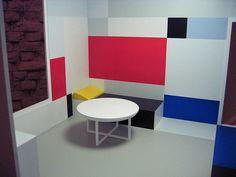 Brick wall interior design, Room designs by Piet Mondrian