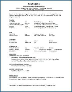 Inspiring Theatrical Resume Template Pictures free printable acting resume template zitemplate Theatrical Resume Template. Here is Inspiring Theatrical Resume Template Pictures for you. √ The General Format And Tips For The Theatre Resume Templa... Acting Resume Template, Best Resume Template, Resume Design Template, Cv Template, Templates Free, Job Resume, Resume Tips, Resume Examples, Sample Resume