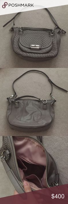 Coach mauve leather bag So classy! Not used much, and in great condition. Can snap open the front for more storage :) Coach Bags
