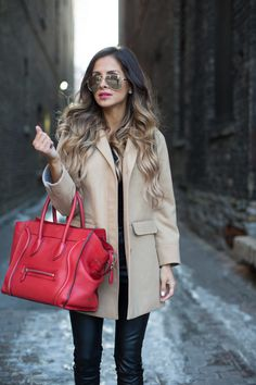 Topshop Camel Coat. Free People Top. Blank Denim Leather Pants. Zara Heels. Celine Bag. Le Specs Aviators.
