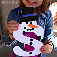 """Make a snowman craft for learning the alphabet. """"S"""" is for snowman is great for a kids winter project. Great for preschool and toddlers!"""