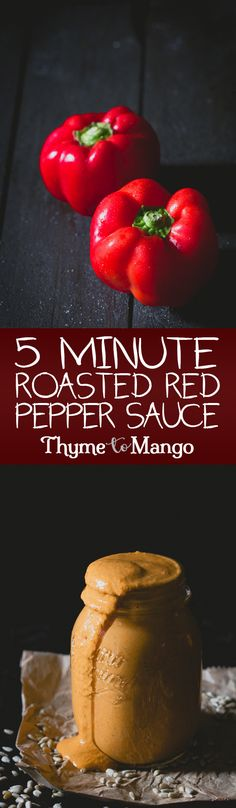 Quick, easy, delicious and healthy. When it comes to sauces there are few that can beat the ease and tastiness of this 5 minute roasted red pepper sauce!