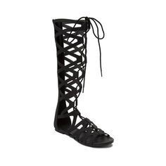 """Kick it with confidence and the fabulous new Roger Gladiator Sandal from SHI by Journeys! The Roger Gladiator Sandal flaunts a strappy, knee-hi silhouette with lace closure for a comfortable fit, and back zipper for easy slip-on and off.   <br><br><u>Features include</u>:<br> > Synthetic leather upper<br> > Lace closure for a custom fit<br> > Back zipper for easy slip-on and off<br> > Flexible rubber outsole for traction<br> > Shaft height: approx. 15""""<br>"""