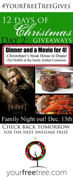 Win Dinner for 4 and 4 Tickets to the Hobbit – Giveaway