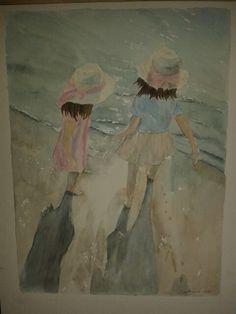 Sommerpiger ved vandet akvarel