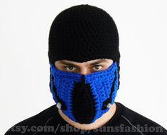 Sub-Zero Mortal Kombat Mask Crochet Beanie Hat subzero mk by sunsfashion, $49.00