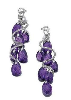 Pair of amethyst and diamond pendent ear clips, michele della valle of spiral design, set with brilliant-cut diamonds and faceted amethyst drops, mounted in white gold and titanium, signed Michele della Valle and numbered. Purple Jewelry, Amethyst Jewelry, I Love Jewelry, Bling Jewelry, Jewelry Accessories, Jewelry Design, Amethyst Earrings, Jewlery, Ring Armband