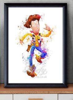 Disney Pixar Toy Story Woody Watercolor Poster Print - Watercolor Painting - Watercolor Art - Kids Decor- Nursery Decor