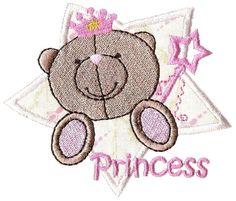 Machine embroidery designs, princess bear in applique star