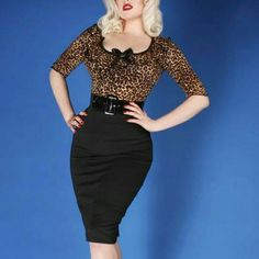 Deadly Dames Juvenile Leopard Wiggle Dress Juvenile Delinquent Deadly Dames Wiggle Dress Belt NOT included. Cute retro pin up style. Deadly Dames Dresses