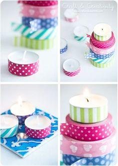 Washi taped tea lights - by Craft & Creativity