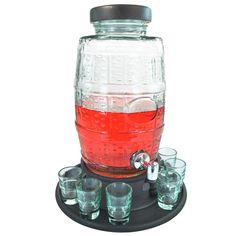 Descrição <br>Características: <br>Sirva suas bebidas preferidas com está suqueira feita em vidro e madeira com capacidade para até 6000 ml. É versátil e fácil de limpar. Possui torneira, tampa e um estilo vintage que deixará o ambiente mais bonito e decorado. <br>Especificações Técnicas: <br>- Tamanho aproximado: 39 x 16 x 16 cm (no suporte); <br>- Medidas do Suporte: 30 x 8 cm <br>- Medidas dos Copos: 7 x 4,5 cm; <br>- Material: Vidro e Madeira; <br>- Capacidade: 6000 ml; <br>- Capacidade…