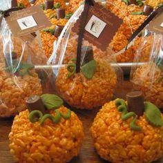 Pumpkin rice krispies :) so cute and easy