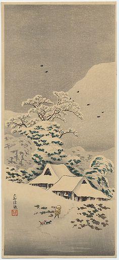 """Shotei, Takahashi 1871 - 1945, """"Sawatari in Joshu District"""" Castle Fine Arts"""