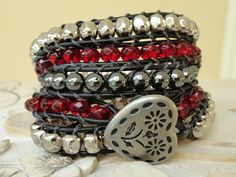 Beaded Leather Wrap Bracelet 5X Red Silver by WrappedInLeather, $59.95