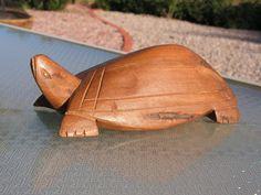 Primitive Turtle Wood Carving Sculptured Hand Carved Wooden Statue Tribal Figurine