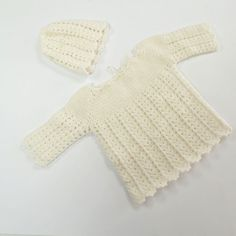 White Baby Set- Handmade Baby Set of sweater and hat. Knitted with white wool yarn.