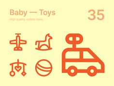 Set of 35 baby toys icons. You can: - change colors; - scale without losing quality. Available in separate SVG files Character Template, Education Icon, All Icon, Jungle Animals, Icon Font, Cartoon Styles, Vector Design, Baby Toys, Color Change