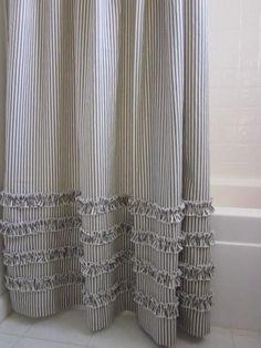 Ruffled Ticking Stripe Shower Curtain