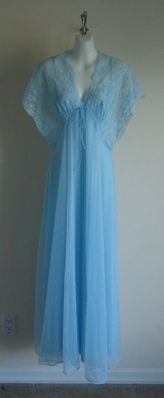 Vintage 1970s Kayser  Blue Peignoir Set by MadMakCloset on Etsy, $85.00
