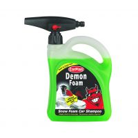 CarPlan Demon Foam car shampoo launches in a custom container with a molded cavity in the back panel that holds a detachable foam head.
