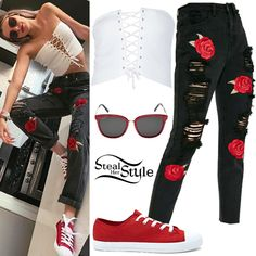 Alissa Violet posted a picture on instagram a couple of days ago wearing a 2020AVE Lace-Up Waist Belt Top ($16.00), Missguided Riot Embroidered Rose Ripped Mom Jeans ($32.00), Gucci GG0073 Sunglasses ($375.00) and sneakers similar to these from Forever 21 ($12.90).