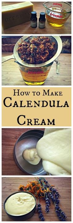 How to Make Calendula Cream~ A healing lotion or body butter made with calendula and lavender.