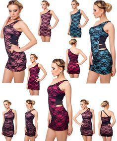 Neu SEXY One-Shoulder Minikleid Party Kleid Cocktailkleid Dress Robe Spitze