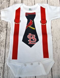 MLB St. Louis Cardinals Inspired Navy & Red Tie and Suspenders Onesie - Made to Order - 0-3M through 24M. $22.00, via Etsy.