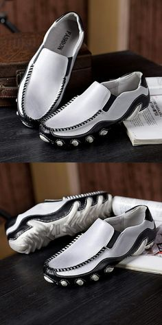 Handmade Summer Men's Leather Driving Shoes Casual Slip On Loafers Stitching Shoes White 41 Me Too Shoes, Men's Shoes, Shoe Boots, Dress Shoes, Modern Mens Fashion, Best Mens Fashion, Loafer Sneakers, Loafers, Mens Puma Shoes