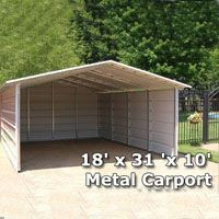 x 31 'x Metal Carport & RV Cover with Side Walls - Installation Included Carport Sheds, Carport Plans, Carport Garage, 8x12 Shed Plans, Free Shed Plans, Storage Shed Plans, Built In Storage, Rv Storage, Storage Ideas
