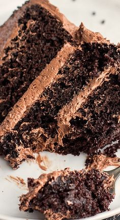 chocolate cake with whipped chocolate buttercream....