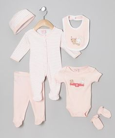 Love this Sweet & Soft Pink Bunny & Bear Six-Piece Layette Set - Infant by Sweet & Soft on #zulily! #zulilyfinds