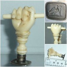 Antique intaglio wax seal Clenched Fist pledge sincerity faith Dove Love Letter