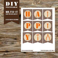 DIY Printable Wood Grain Brown & Orange
