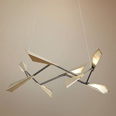 """Hubbardton Forge Quill 40""""W Soft Gold Square LED Pendant"""