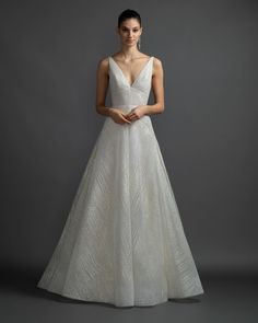 Style 3908 Celeste Lazaro bridal gown - Sparkle bias lined bridal ball gown, V-neckline with jeweled straps at open back, natural waist, circular A-line skirt, chapel train.Arriving in stores Spring 2019 Lazaro Dresses, Lazaro Wedding Dress, Lazaro Bridal, Bridal Gowns, Wedding Gowns, Bow Wedding, Backless Wedding, Wedding Stuff, Princess Ball Gowns