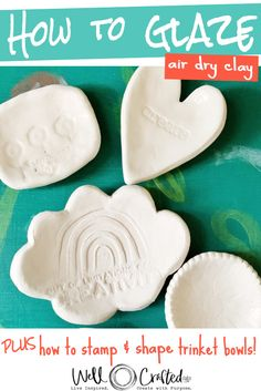 clay crafts air dry Tips for Glazing Air Dry Clay and Making Ring Dishes or Trinket Dishes.These make great little gifts for Valentines Day or as a wedding favor. And are perfect for any age! Diy Fimo, Polymer Clay Crafts, Diy Clay, Crayola Air Dry Clay, Diy Air Dry Clay, Air Dry Clay Crafts, Air Dry Clay Ideas For Kids, Air Drying Clay, Clay Crafts For Kids