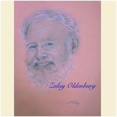 Retrato con creyon.  Hemingway