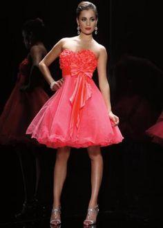 Sweetheart Flower Sash Organza Homecoming Dress