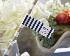 Personalized Party Straw Flags - Kate's Nautical Wedding Collection #nauticalwedding #partystrawflag